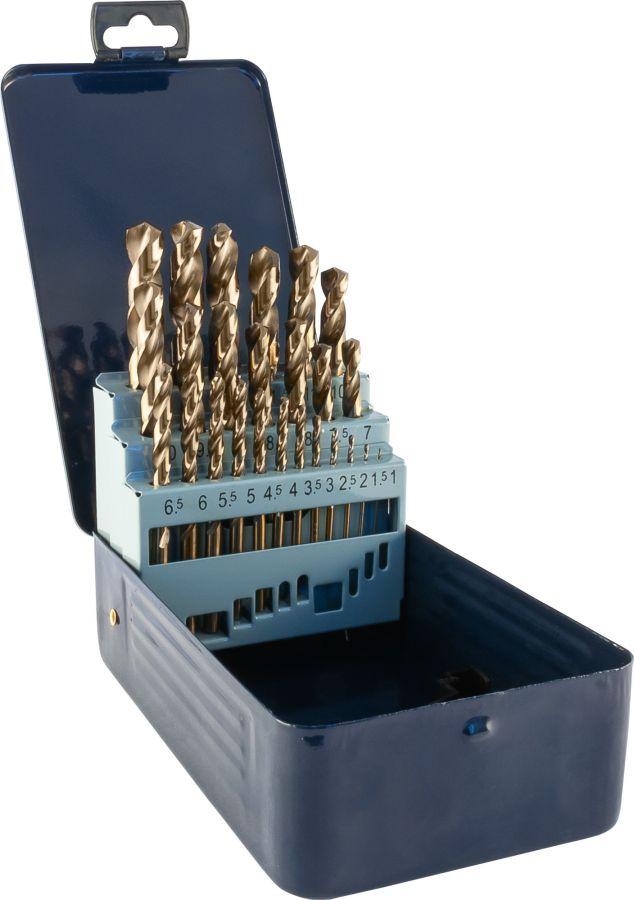 TDBS25K5 Набор спиральных сверл по металлу HSS Co в металлическом кейсе, d1.0-13.0 мм, 25 предметов