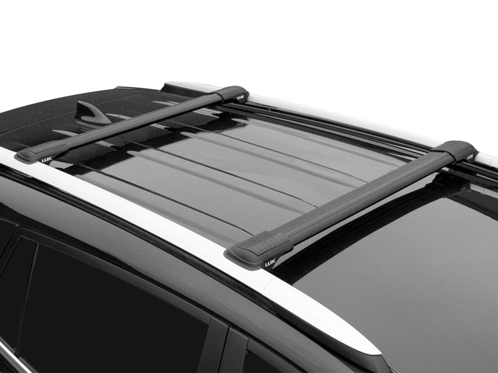 Багажник на рейлинги Toyota Land Cruiser Prado 120, 2002-09, Lux Hunter, черный, крыловидные аэродуги