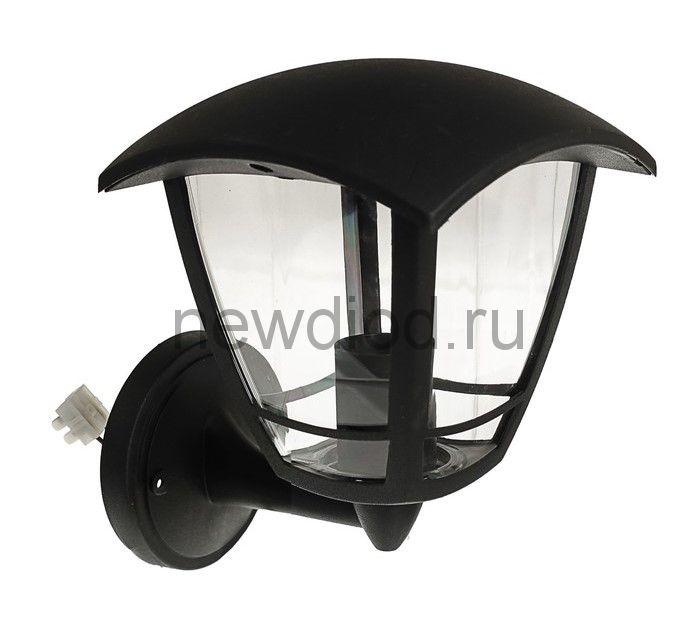 Светильник Luazon 02-1, садово-парковый, четырехгранник, E27, настенный, вверх, черный