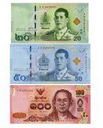 ТАЙЛАНД - Набор 3 банкноты - 20,50 и 100 бат 2018. ПРЕСС UNC
