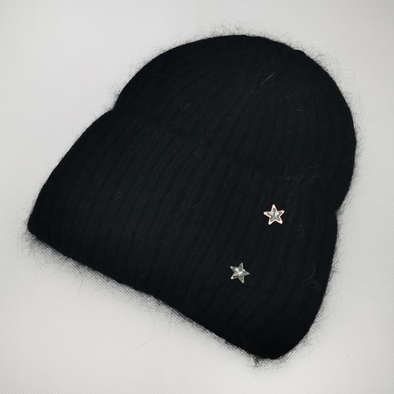 зд1211-65 Шапка бини вязаная с отворотом круной вязки ангора Звездочки чёрная