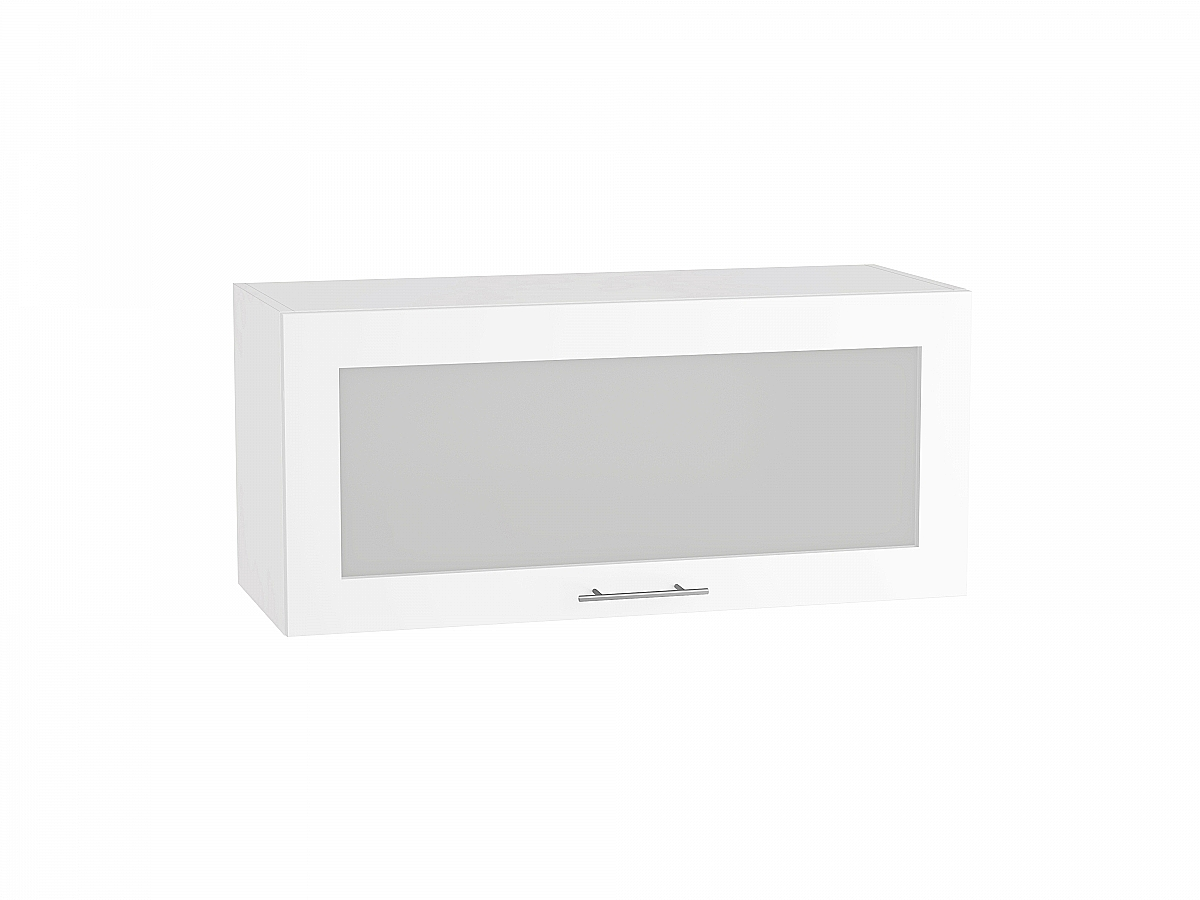 Шкаф верхний Валерия ВГ800 со стеклом (белый глянец)