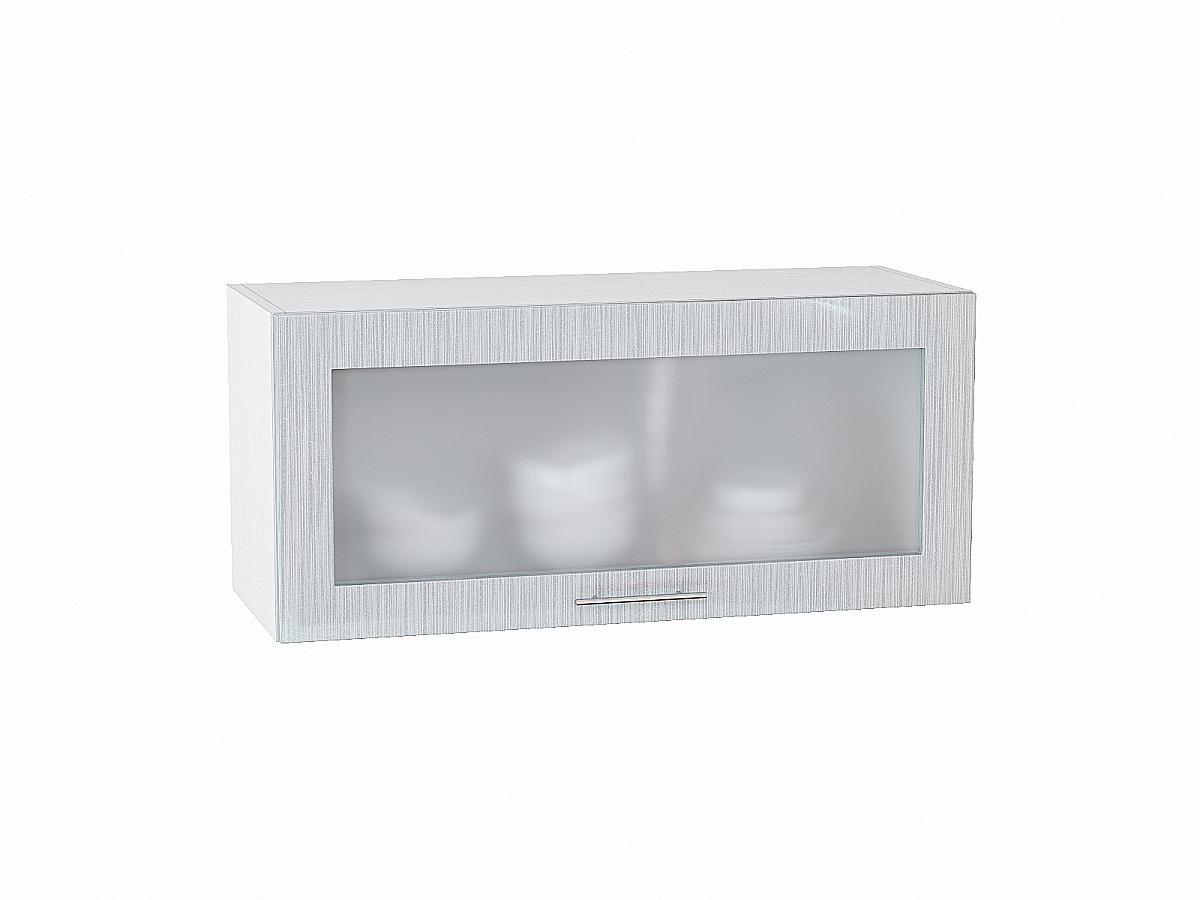 Шкаф верхний Валерия ВГ800 со стеклом (серый металлик дождь)