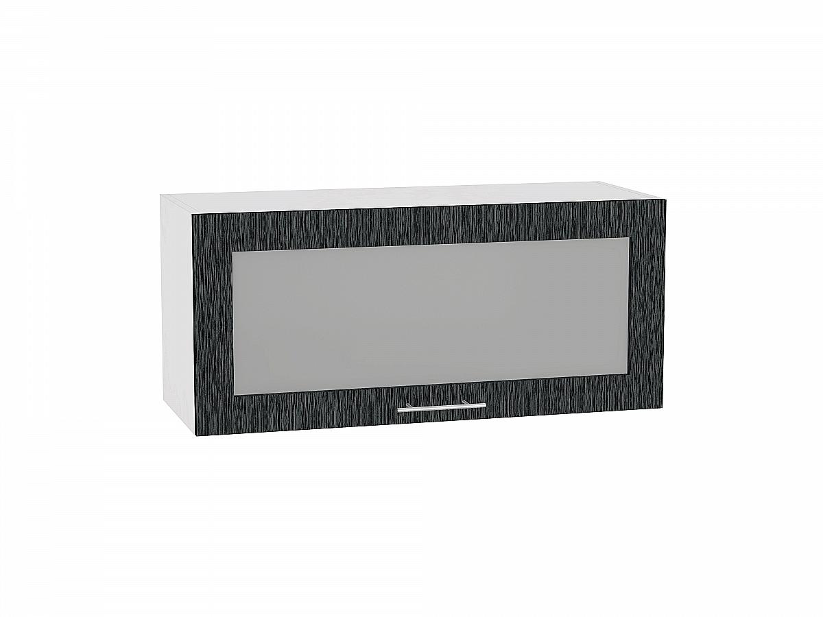 Шкаф верхний Валерия ВГ800 со стеклом (чёрный металлик дождь)