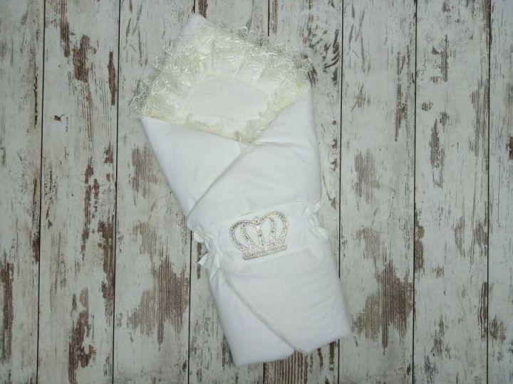 МАМИН МАЛЫШ - Комплект на выписку белый с мехом, корона 5-KM004-ME / 02173-4