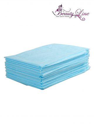 Простыни одноразовые - 80/200, плотность - 17; --- 20 штук, голубые.