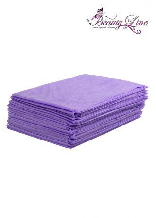 Простыни одноразовые - 70/200, плотность - 17; --- 20 штук, фиолетовые