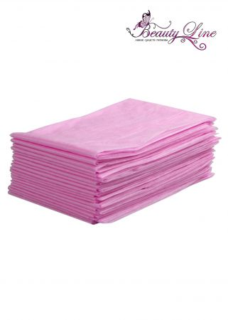 Простыни одноразовые - 80/200, плотность - 20; --- 20 штук, розовые