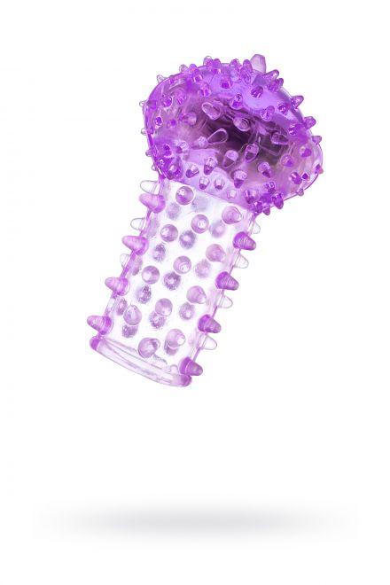 Вибронасадка на палец TOYFA, TPE, фиолетовый, 6,5 см