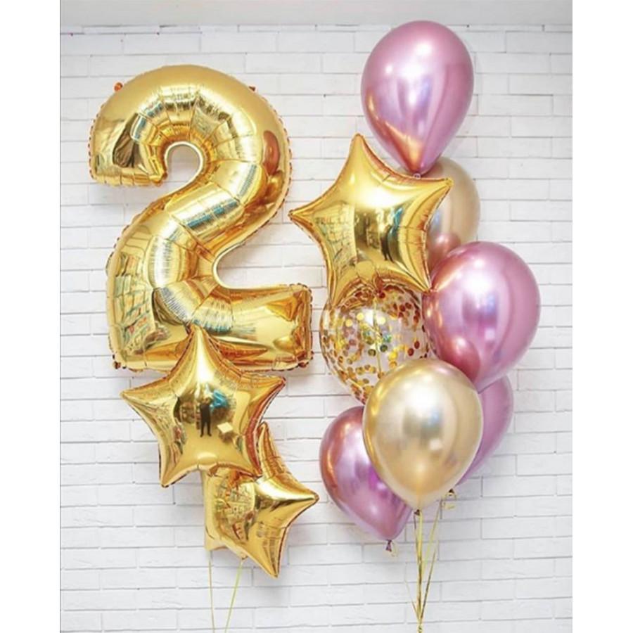 Фонтан из шаров на 2 года с хромом золото