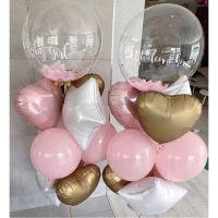 Фонтаны из шаров на выписку с баблс и надписью