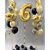 Фонтаны из шаров на 6 лет с золотой цифрой