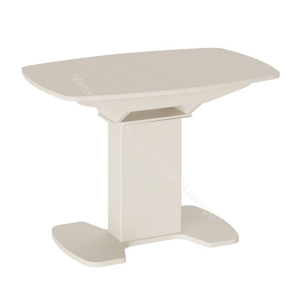 Обеденный стол Портофино 1100x750x750мм Бежевый/Стекло бежевое матовое LUX