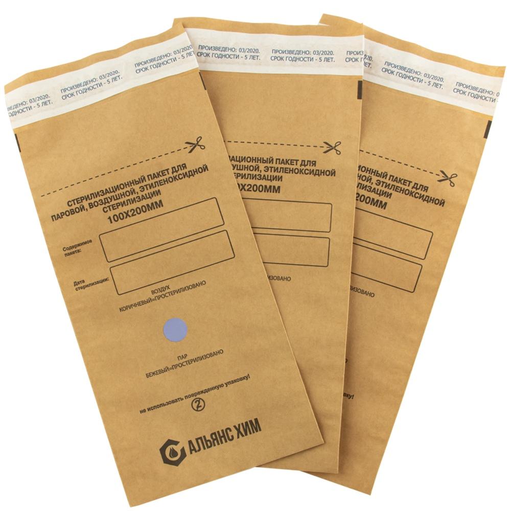 Крафт пакет 100*200 (пакет для паровой и встерилизации с индикатором из крафт бумаги)