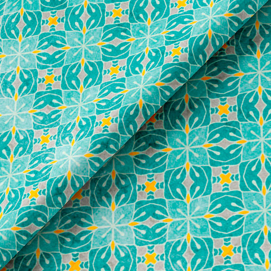 Хлопок Сатин - Мятная мозаика 50х37