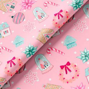Хлопок Сатин - Новогодние чудеса на розовом 50х37