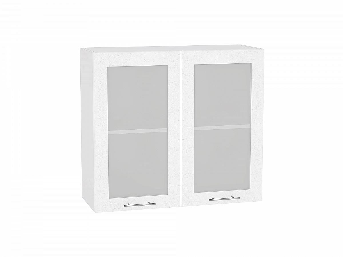 Шкаф верхний Валерия В800 со стеклом (белый металлик)