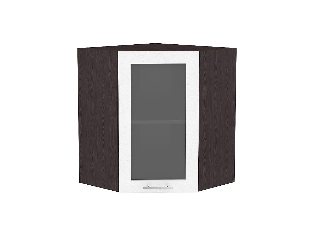 Шкаф верхний угловой Валерия ВУ599 со стеклом (белый металлик)