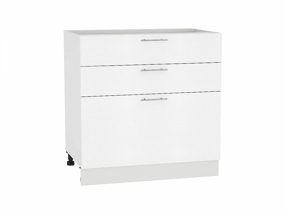 Шкаф нижний Валерия Н803 (белый металлик)