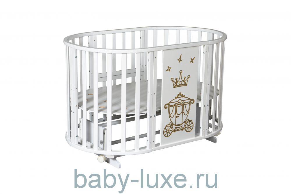 Круглая кроватка-трансформер Severyanka-3 с рисунком универсальный маятник/без ящика