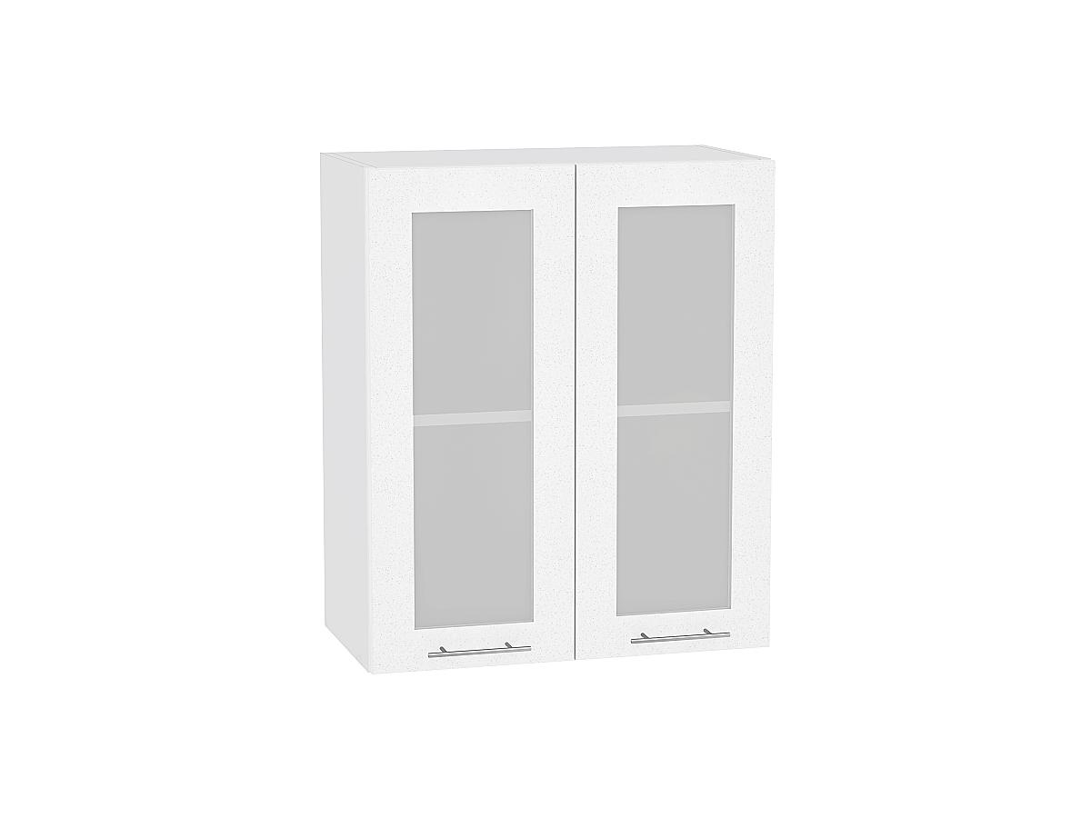 Шкаф верхний Валерия В609 со стеклом (белый металлик)