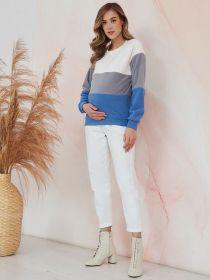Толстовка трехцветная белый-серый-индиго для беременных и кормящих 2070.2.8