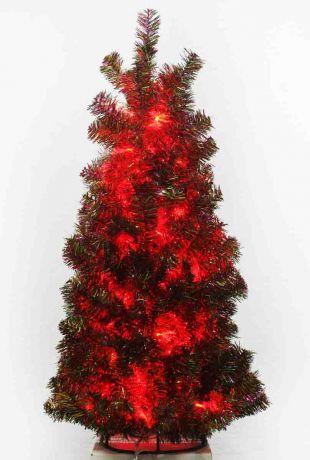 Ель зелёно-цветная с красными огоньками (100 см)