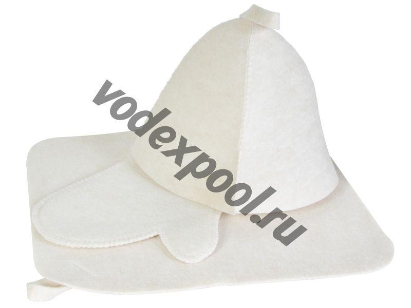 Набор для бани 3 предмета ЭКОНОМ (белый цвет)
