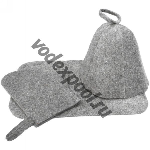 Набор для бани 2 предмета ЭКОНОМ (серый цвет)