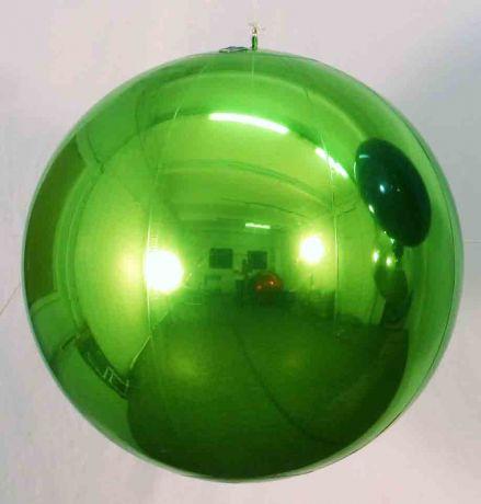 Шар надувной зеркальный, зелёный, 1 метр