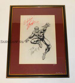 Автографы: Стэн Ли, Джон Ромита-старший, с оригинальным рисунком Человек паук 1989 год. Редкость