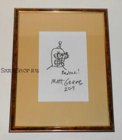 Автограф: Мэтт Грейнинг, с оригинальным рисунком. Бендер, Футурама. Симпсоны. Редкость