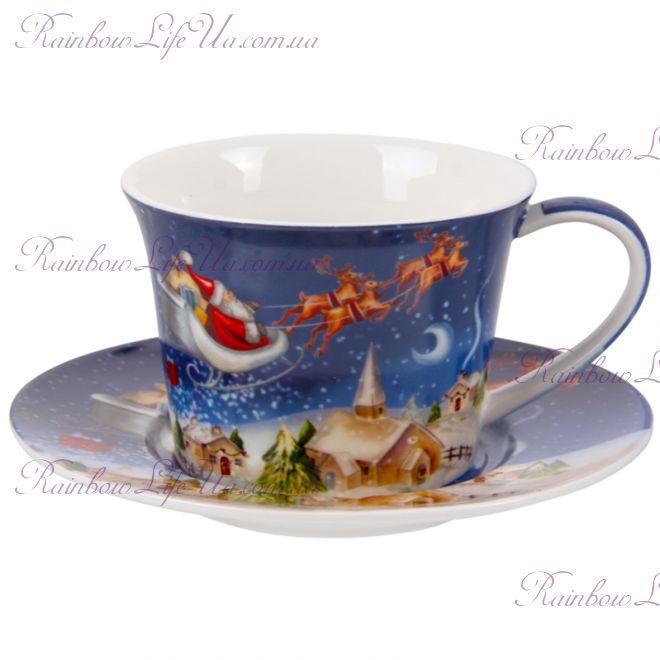 "Чашка с блюдцем 220 мл ""Санта на оленях"""