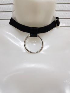 Чокер с кольцом, трикотажная резинка.