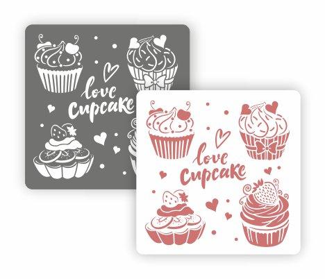 Трафарет для декора Арт-модуль, АМ-33, Love Cupcake, 15*15 см