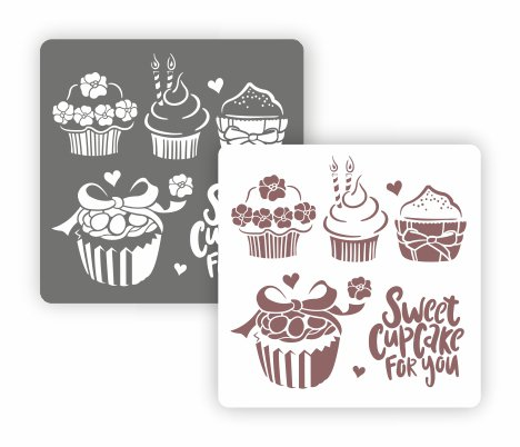 Трафарет для декора Арт-модуль, АМ-34, Sweet cupcake , 15*15 см