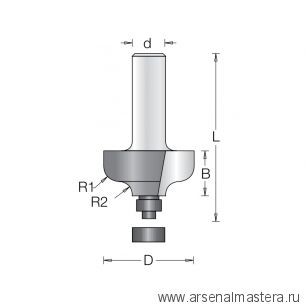 Фреза радиусная фаска волна с нижним подшипником DIMAR D 28,6 x 12,7 х 56 R 4,5 1380025