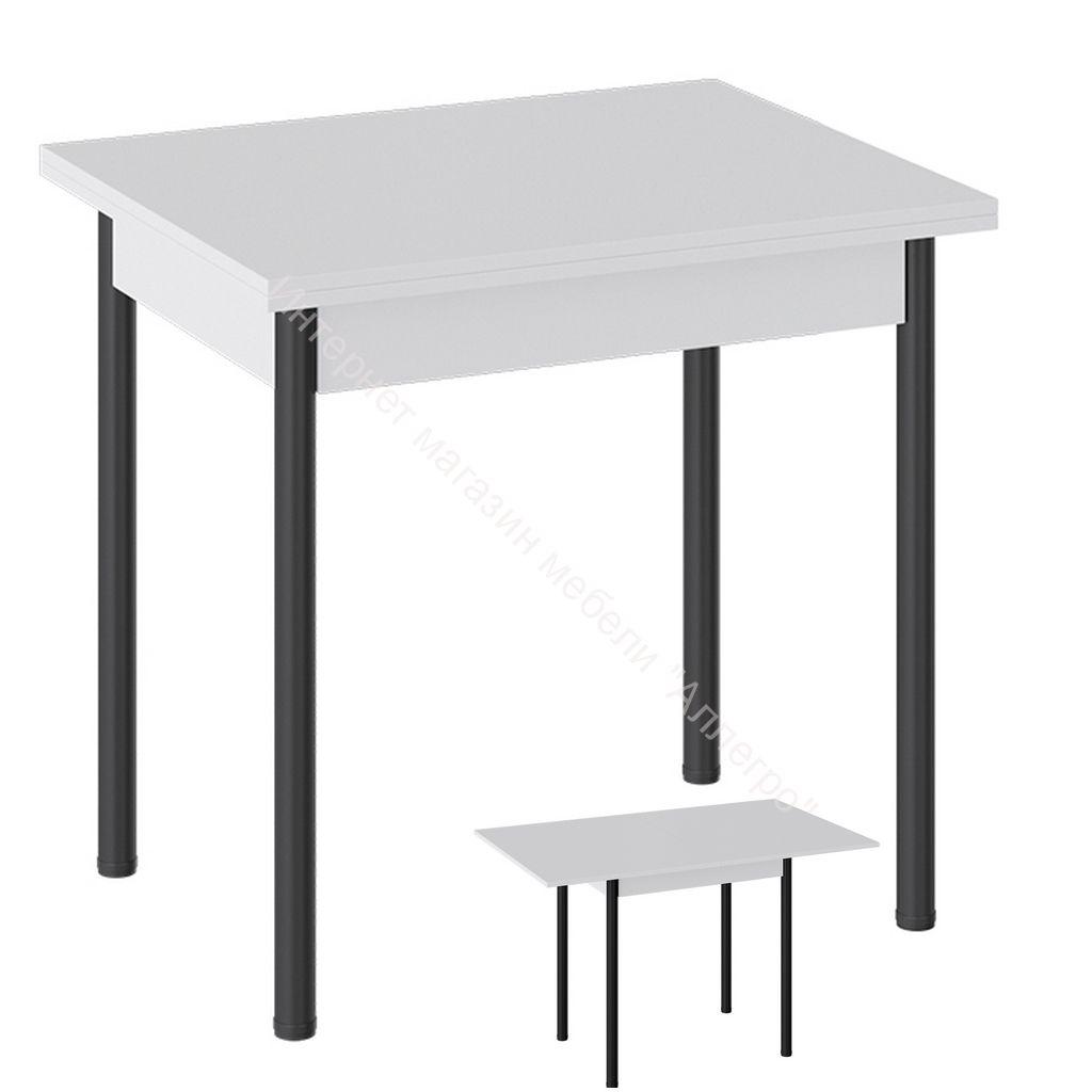 Стол «Родос» Тип 2 с опорой d40 (Черный муар/Белый)