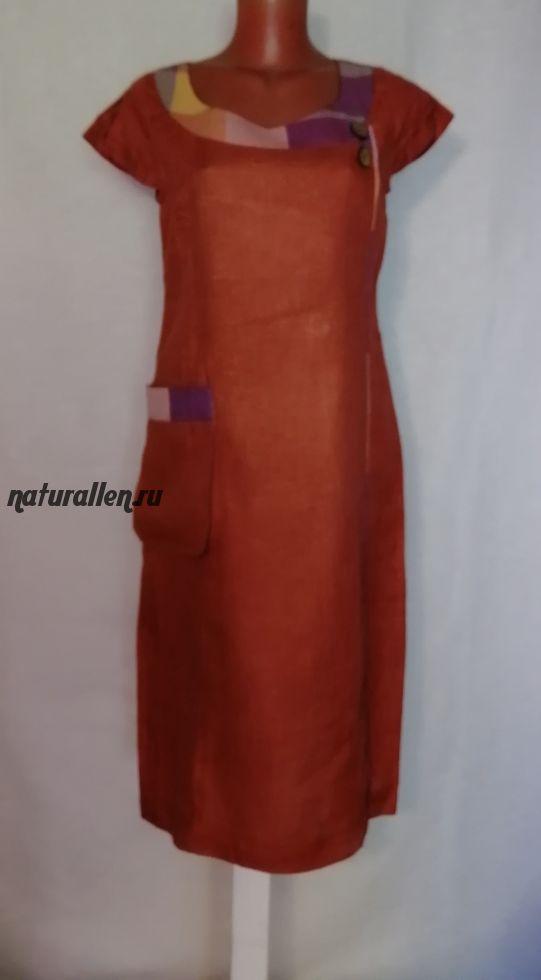 Летнее платье лен 100% кирпичное