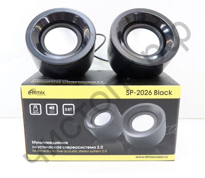 Актив.колонки 2.0 RITMIX SP-2026 черный, 2.0, 5 Вт (2 х 2,5), 60-20000 Гц, Д 45 мм, регул громк,  3,5 мм