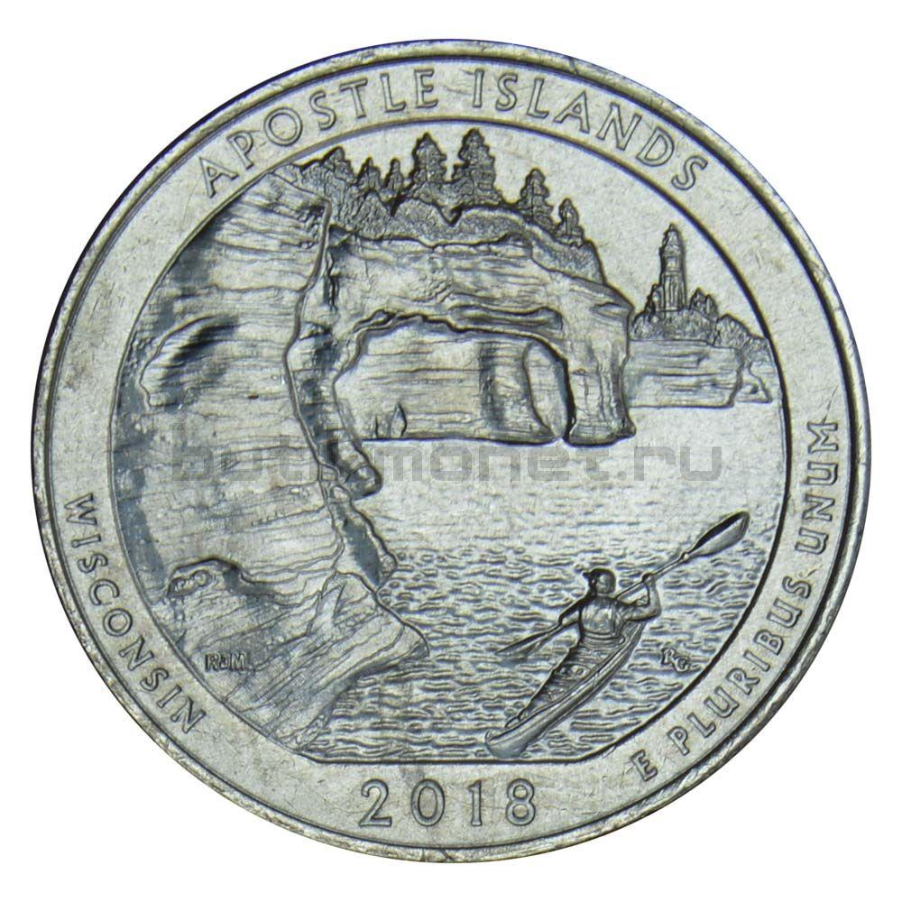 25 центов 2018 США Национальные озерные побережья островов Апостол P