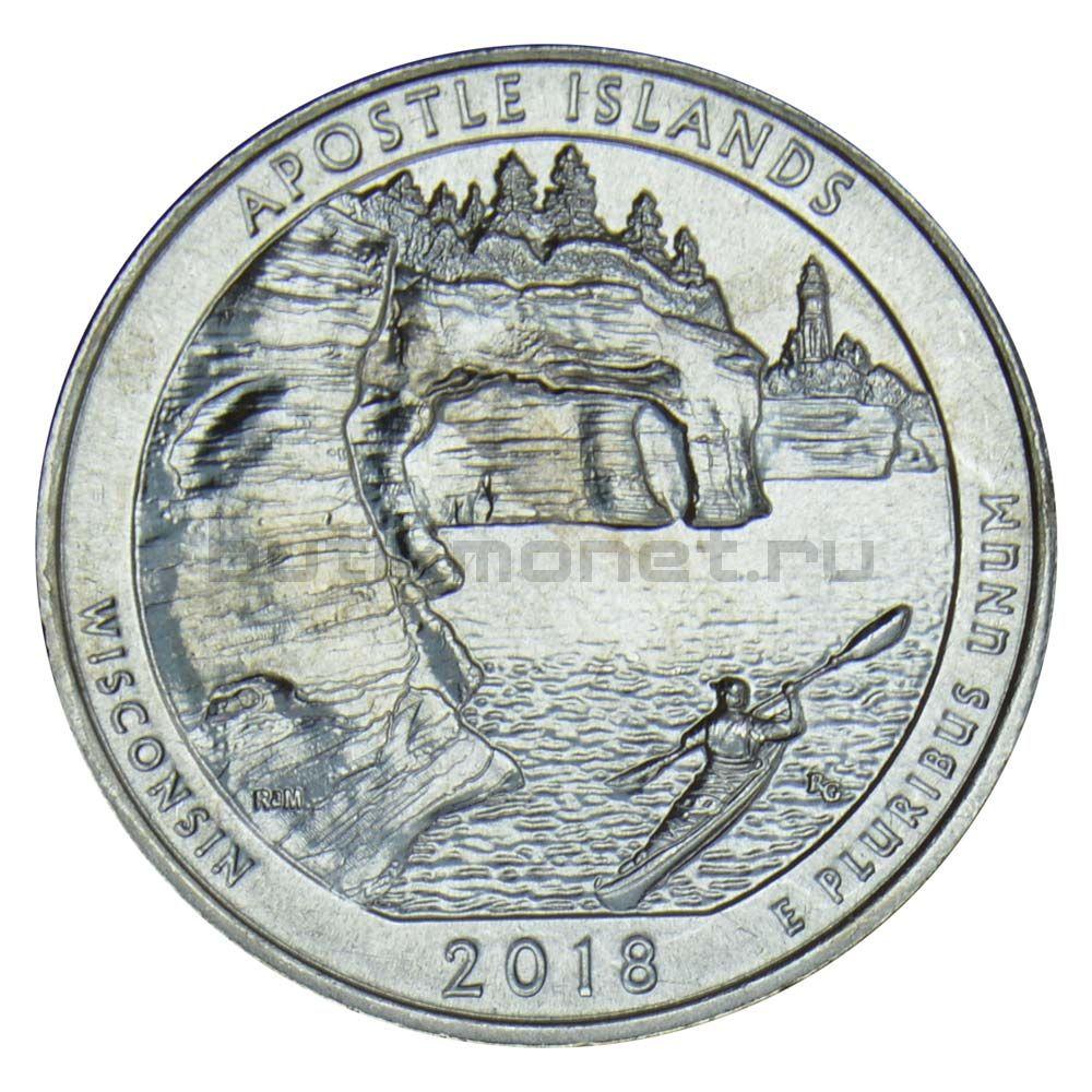 25 центов 2018 США Национальные озерные побережья островов Апостол D
