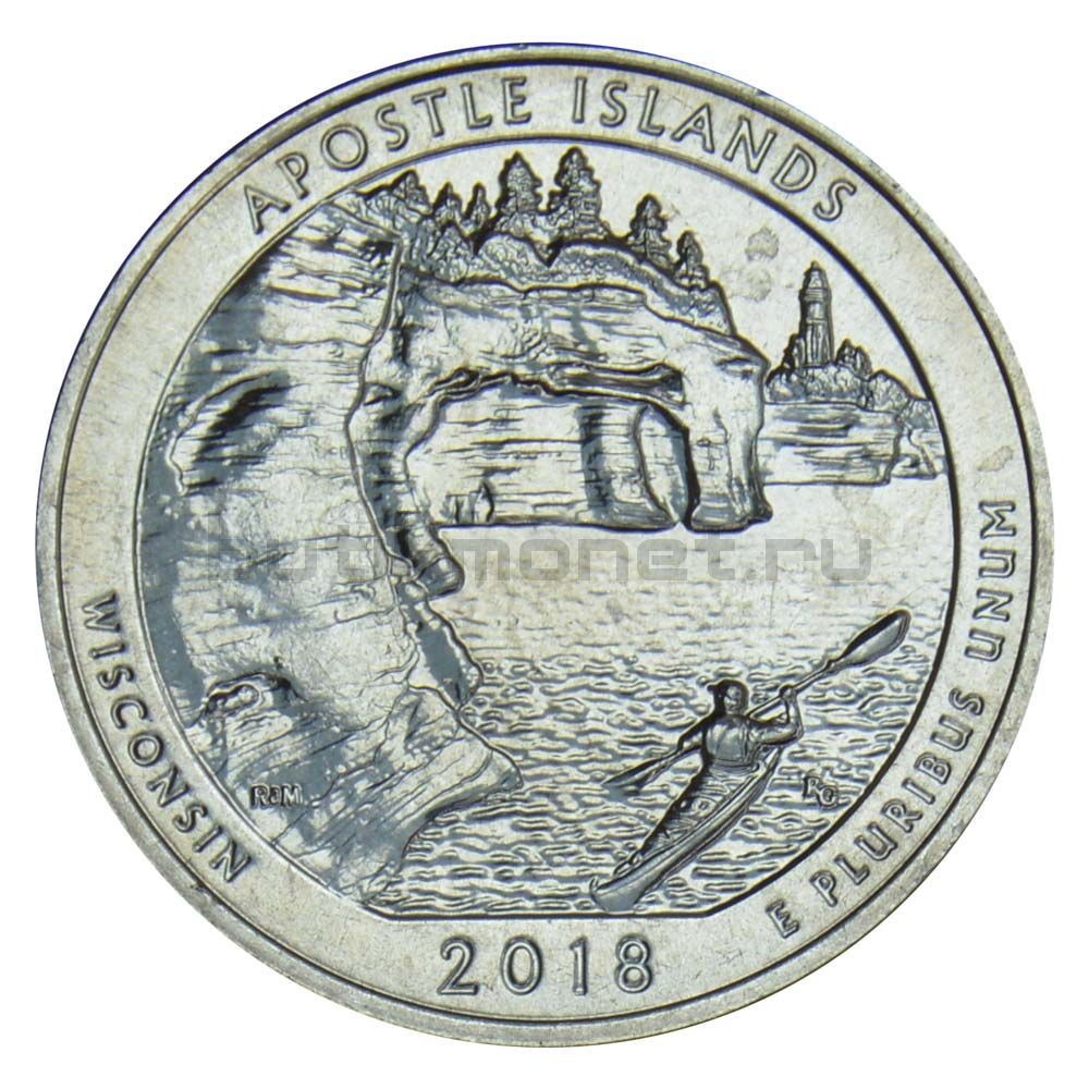 25 центов 2018 США Национальные озерные побережья островов Апостол S