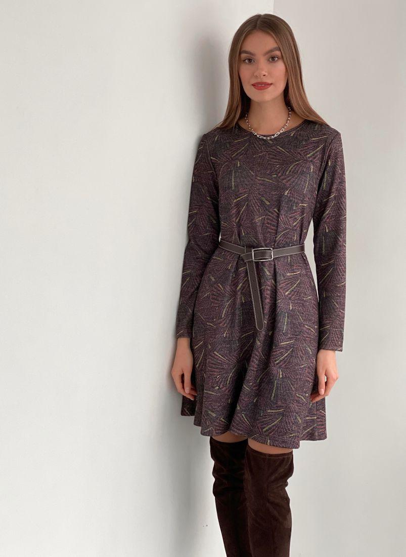 s3173 Платье из мягкой принтованной ангоры