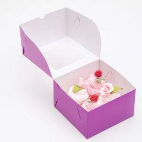 Упаковка для капкейков с окном на 4 шт, фиолетовая, 16 х 16 х 10 см