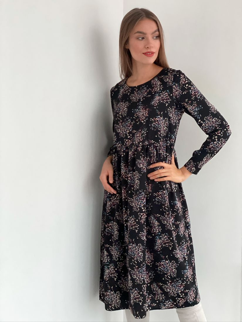 s3180 Платье чёрное с веточками