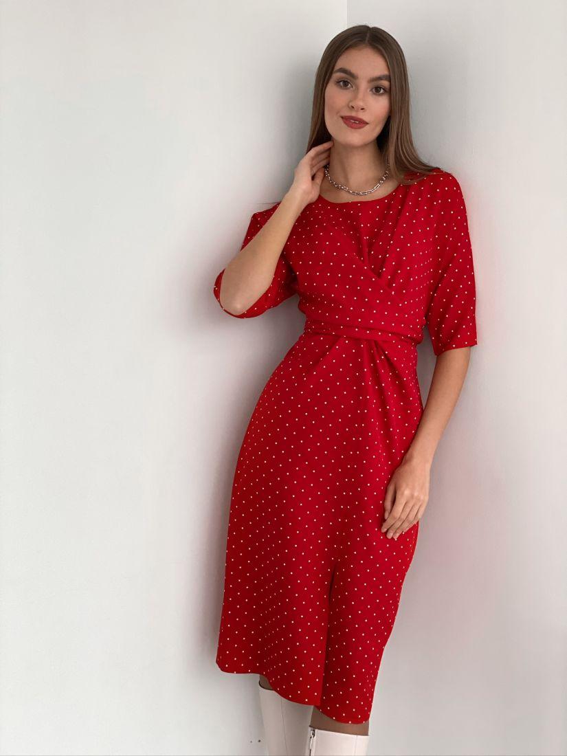 s3181 Платье с перекрутами красное в горох