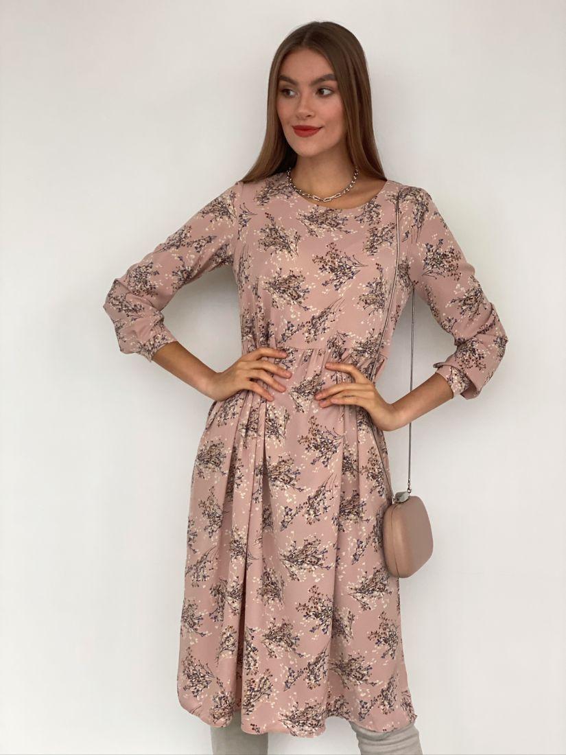 s3182 Платье пудровое с веточками
