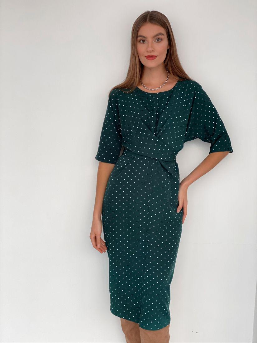 s3183 Платье с перекрутами изумрудное в горох