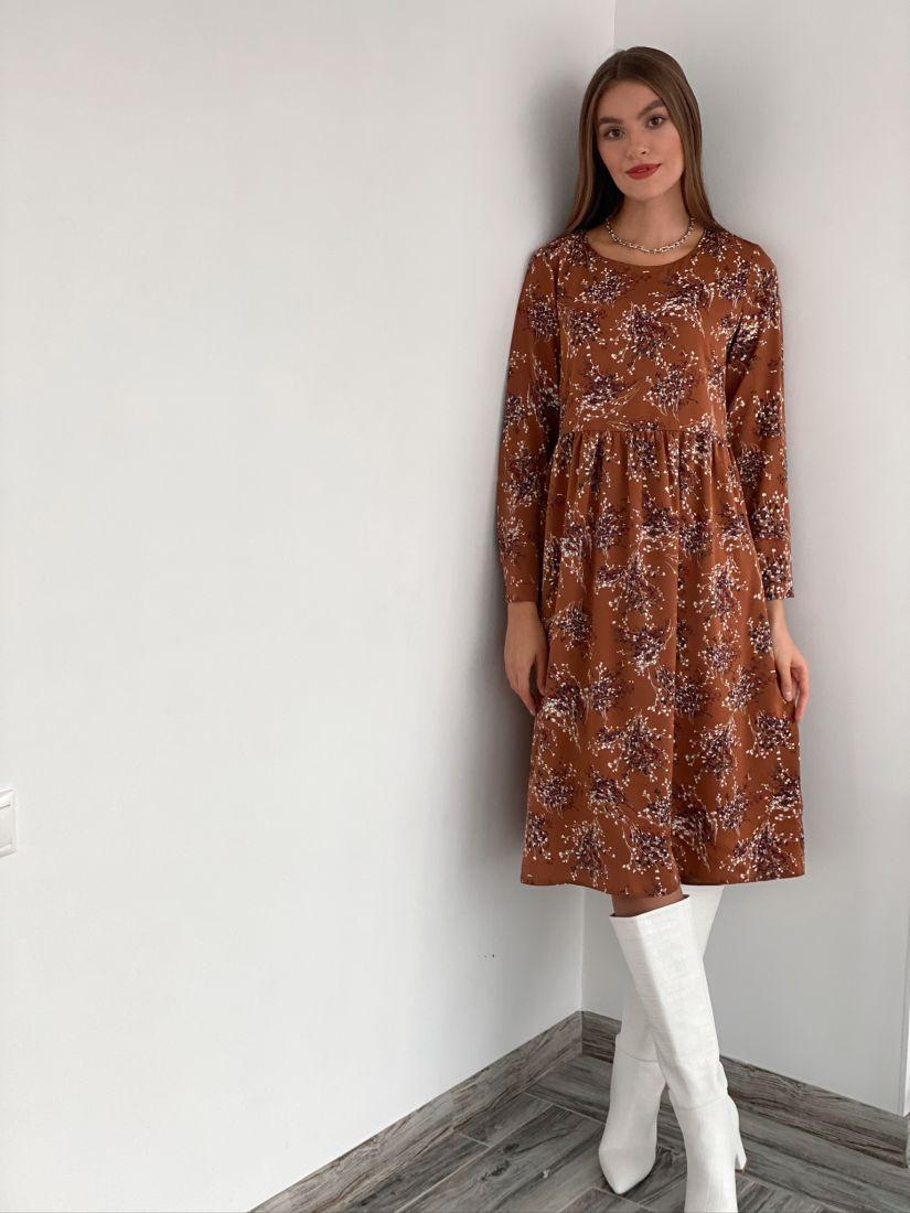 s3186 Платье кофейное с веточками